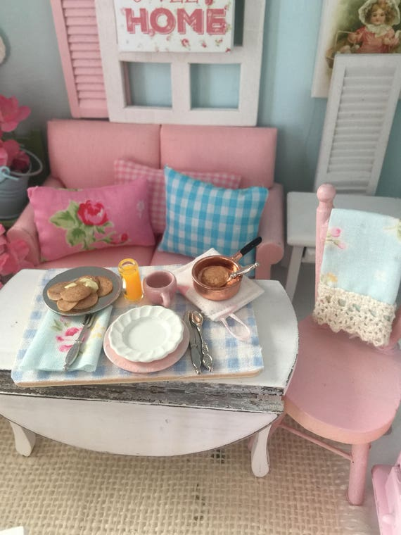 Miniature Shabby style Pancake Breakfast -1:12 scale dollhouse miniature