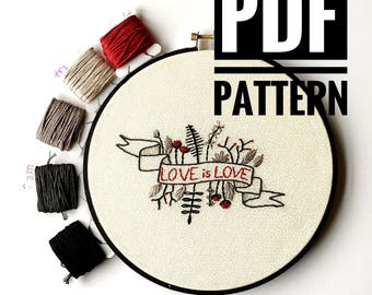 Hoop art pattern, embroidery pattern, modern embroidery, cool cross stitch, digital download, beginner embroidery, embroidery sampler