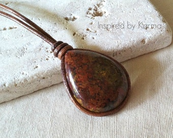 Brecciated Jasper and Leather Boho Necklace, Leather Necklace, Jasper Necklace, Brecciated Jasper, Gifts for her, Gifts under 50