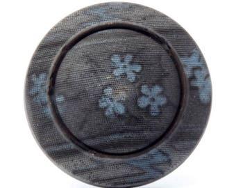 27mm Czech antique vintage Victorian floral faux fabric black glass button