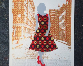 Downtown Gal - hand printed art print
