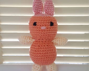 Bunny Rabbit Stuffed Animal Crochet Toy/ Coral, Peach, And Pink Amigurumi Plush Doll/ Handmade Toys/ Easter Bunny/ Gift For Kids