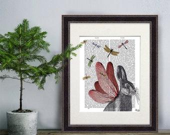 Hare illustration hare art - Dragonfly Hare - rabbit print rabbit nursery decor nursery art valentines gift for her Whimsical Animal art