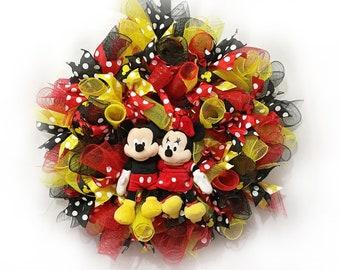 Disney Wreath - Mickey and Minnie Wreath - Deco Mesh Wreath