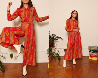 Vintage 1960s Sheer Cotton Red-Pink Orange Paisley Two Piece Coordinate Set Button Down Palozzo Pant size Extra Small