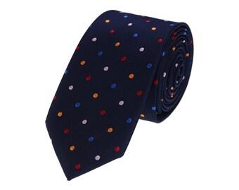 Navy Shiny Ties With Colorful Dots.Men Ties. Neckties for Men.Wedding Ties.Host Ties.Silk Tie.Groomsmen Ties.Performance Ties