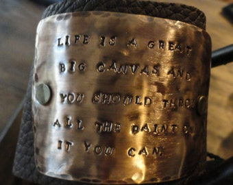 Hand stamped jewelry, personalized leather cuff bracelet, vintage brass