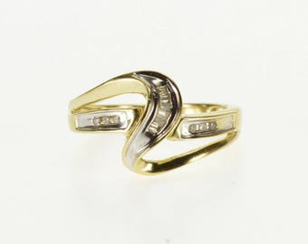 10k Diamond Channel Inset Wavy Curvy Band Ring Gold