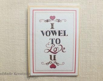 I Vowel To Love U Handmade Card | Typography Love Card | Valentines Card | Relationship Card | I Love U Anniversary Card | Greetings Card