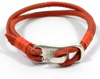men hook bracelet, nautical bracelet, red leather bracelet, nautical jewelry, men jewelry, men gifts, gift for boyfriend, surfer bracelet