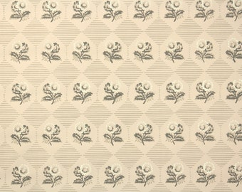 1950s Vintage Wallpaper by the Yard - Floral Wallpaper with Gray and Ivory Flowers on Beige Geometric Nancy McClelland