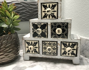 Apothecary Spice Cabinet Black & White with 6 Ceramic Drawer Herb Storage Box Distressed Farmhouse Country Cabinet Item #593174878