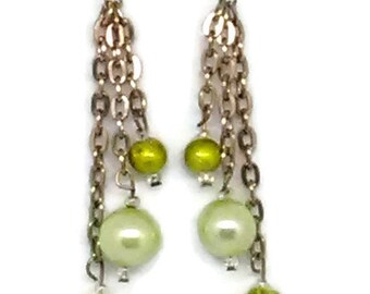 Yellow-Green Dangle Earrings
