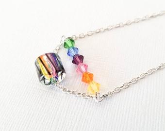 Rainbow Bead Bar Necklace, Rainbow Necklace, Floating Necklace, Crystal Necklace, Vertical Bar Necklace, Multi-color Necklace, Pride Gift