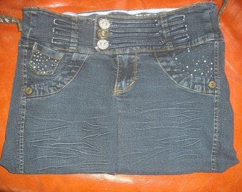 sac à main en jean bleu foncé à sequins brillants et à fausses poches, entièrement doublé