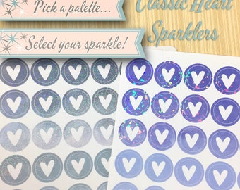 Holographic Planner Stickers | Classic Heart Sparklers | 56 Stickers Total