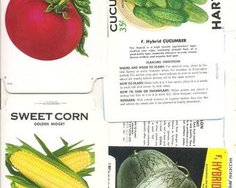 17 Vintage FLOWER / VEGETABLE Unfolded Vegetable Seed Packs