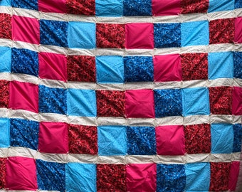 Lap Quilt Red & Blue Roses