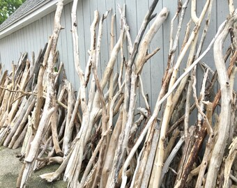 "Single XXXLong Driftwood Pole - 1 Straightish Driftwood Pole 6-8"" x 1.50 - 2.25""- Driftwood Curtain Rod -Driftwood Arch -Driftwood Tent Pole"