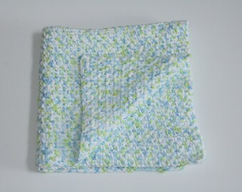 Crochet Baby Blanket! Extra Soft Handmade! Blue, Green and White