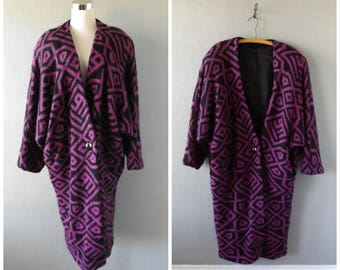 purple black sweater duster jacket - vintage 80s oversize bat wing long cocoon wrap coat - size l / large - hippie boho wool knit dress