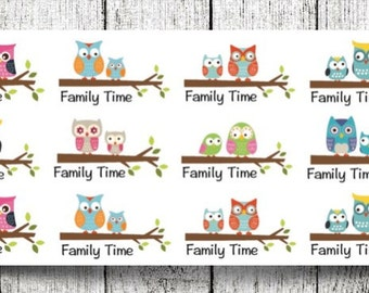 Family Time Owls Planner Stickers