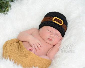 Pilgrim Baby Hat | Thanksgiving Baby Hat / Pilgrim Newborn Hat / Fall Baby Hat / Autumn Baby Hat / Thanksgiving Newborn Hat