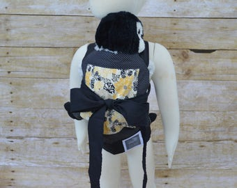 Baby Doll Carrier - Toy Carrier - Black & Yellow Floral