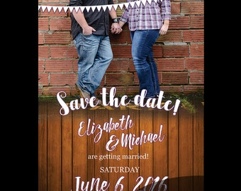 Rustic Save The Date / Rustic Wedding 5x7 / Country Wedding Suite / Inviation Suite / Rustic / Wood / 5x7