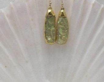 Earrings: Green Mabe Pearl in 24k Gold Setting