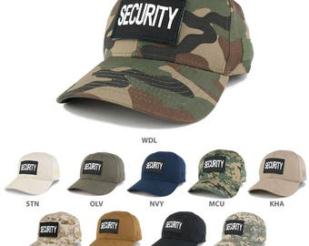 SECURITY Black Embroidered Tactical Patch Adjustable Structured Operator Cap (T91-SEC-BLK-T75)