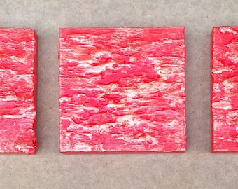 The fire - original textured abstract art - acrylic contemporary triptych painting