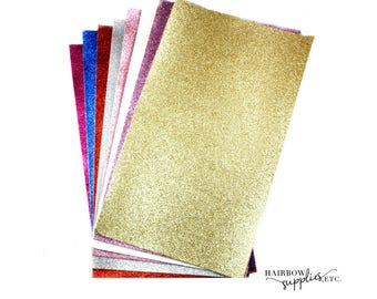 Glitter Faux Leather Sheets for Bows - Fabric Sheets Fine Glitter, 7.8 inch x 13.3 inch Leather Fabric Material for DIY Hair Bows Making