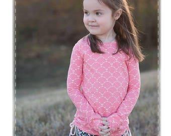 Camas Knit Top & Tunic, Sizes 2t-12y, PDF Children's Pattern, girls shirt, knit shirt, ruched shirt, banded tunic, digital clothing pattern