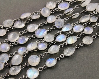 Rainbow Moonstone Coin/ Pear Bezel Chain, Connector Chain linked sold in Sterling Silver with Antique finish, 12mm, (GMC-BZ-400)
