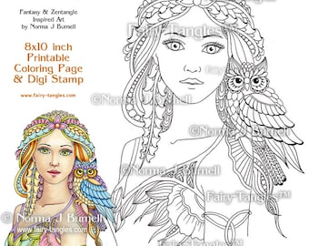 Will-O & Wisp Fairy and Owl Printable Coloring book Sheets and Pages Norma J Burnell Adult Coloring for Grownups and Digital Coloring files