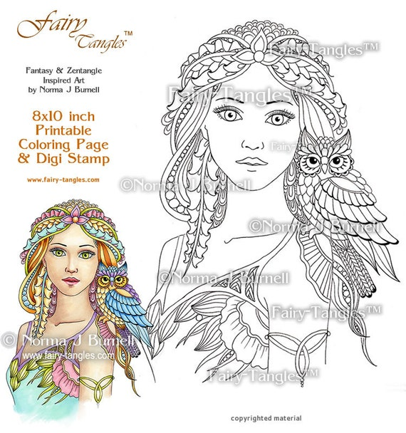 will o wisp fairy and owl printable coloring book sheets and