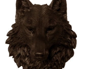 Brown Wolf Head Mount Wall Statue. Faux Taxidermy Fake Wolf Head.