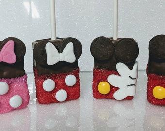 Mickey or Minnie Rice Krispy pops 12 per order