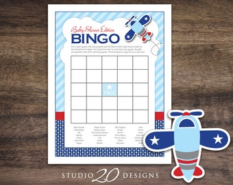 Instant Download BINGO Airplane Baby Shower Games, Printable Party Cards for Boy, Blue Red Aviation Game Sheets, Polkadot Bomber #37A