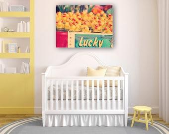 Baby Nursery Art- Lucky Ducks Canvas - 30x40 canvas gallery wrap - Rubber Ducks - carnival - nursery room - home decor - large wall art