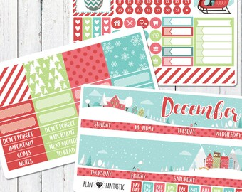 December Monthly Sticker Kit - Monthly Calendar Planner Stickers for use with ERIN CONDREN LIFEPLANNER™ or Recollections Planner