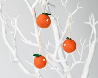 Mini felt orange hanging decoration, set of three