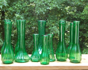 12 Green Glass Vases/ Wedding Vases/ Bud Vases / Vases for any Occasion/ Large and Small  Vases