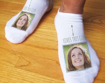 Custom Printed Photo Socks for All Occasions - Print Photo of a Person's Face on a Pair of No-Show Socks - Assorted Designs - 3 sizes
