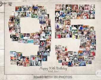 95th Birthday Gift, 95th Wedding Anniversary Gift,  95th Birthday Decoration,  Anniversary Gift for Wife, 95th Photo Collage Gift, 95s Decor