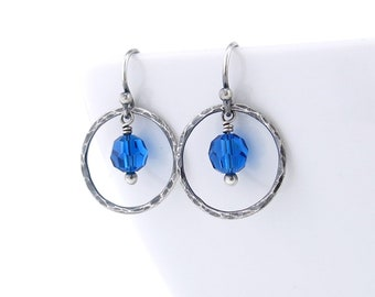 Small Blue Earrings Crystal Dangle Earrings Sterling Silver Circle Earrings Gift for Her Handmade Rustic Jewelry - Dainty Dot