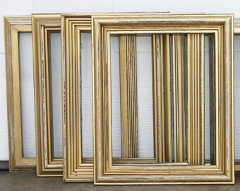 Gold Painted Frame Set of Four 8x10 Gold Distressed Vintage