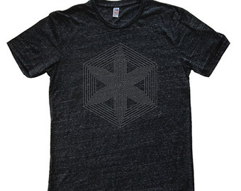 Mens T Shirt - Hexagon Star Mens / Unisex Graphic T Shirt - Tri Blend Dark Gray - Made in the USA - Hand Printed - Sizes S, M, L, XL - Tee
