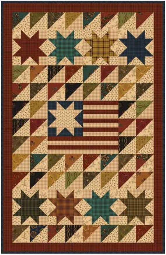 Kim Diehl Quilt Kit. Old Glory Simple Whatnots Club Collection 7. Patriotic Country Decor Wall Hanging or Table Topper. Primitive Design